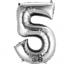 "Silver Number 5 Mini-Foil Balloon (16"" Air) 1pc"